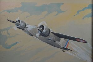#1 Louis Petit 1930 water color with HANRIOT plane