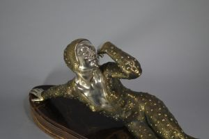 Signed LUCE, art deco Lying dancer. Impressive bronze figure. 78cm