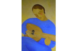 Jean MARTIN ROCH (1905-1991) Couple of musicians oil on canvas painting