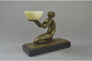 Signed Mag Eddo bronze figure of a lady