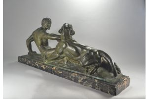 Jean Magrou impressive Hercules and panther bronze group.