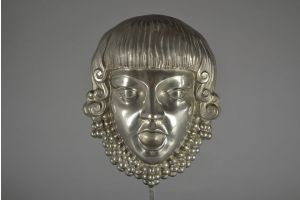 Art deco silver plated bronze mask