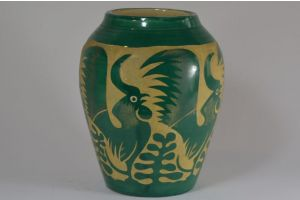 Roger Mequinion. Green vase. Cocks pattern.