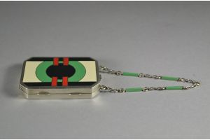 Art deco sterling enameled compact