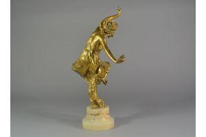 Charlotte Monginot bronze dancer with tambourine