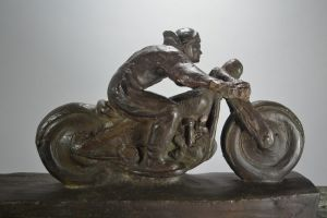 A. Gennarelli large bronze motorcycle biker