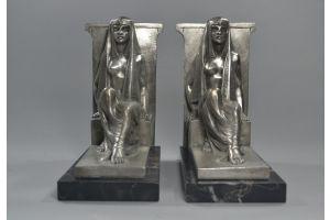 Emile Monier (1883-1970) Rare art deco bronze bookends. Egyptian revival.