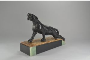 Art Deco cubist panther on marble base. NOTARI.
