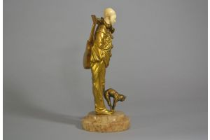 PIERROT WITH CAT. BRONZE AND IVORY. G. OMERTH