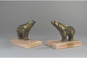 Art deco bears bookends on marble base