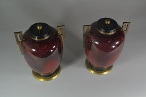 Sevres / Paul Milet. Pair of lidded vases. Rare color.