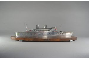 Rare large art deco lighted metal model of an Ocean Liner