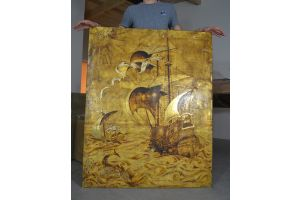 Large Art deco lacquer panel in the manner of Jean Dunand / Gaston Suisse