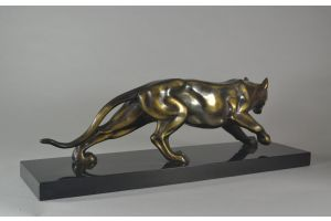 Art deco metal panther on marble base