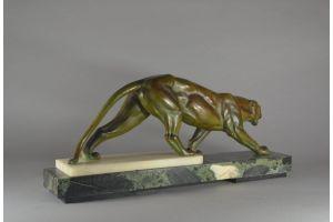 Large art deco metal panther on green marble base