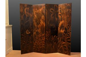 Jean Dunand / Jacques NAM art deco lacquered wood screen