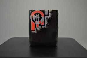 Circa 1930 art deco modernist lacquered sterling silver cigarette box. Sandoz ?