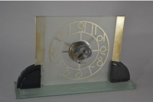 Large art deco modernist glass mirrored clock