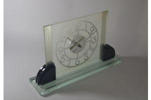 Large art deco modernist glass mirrored clock
