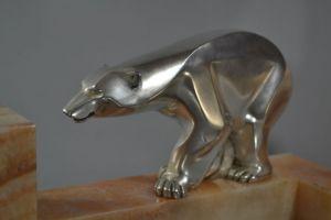 Art deco clock with silver plated bronze polar bears