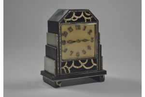 Exquisite art deco lacquer and eggshell clock