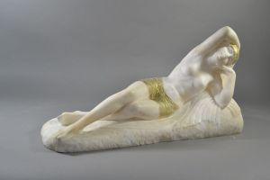 G. Pugi alabaster sculpture. Odalisque.