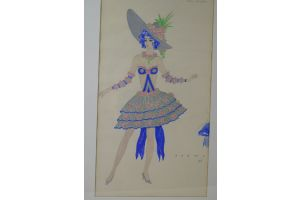 R.G Ranson  costume drawing for Folies Bergeres 3/6