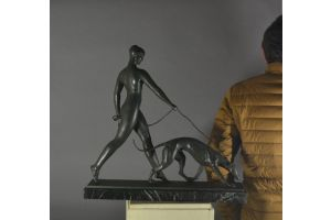 Lady with Greyhound. Iconic bronze sculpture by Leon RIVOIRE.