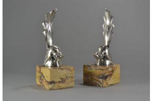 Henri RISCHMANN art deco pair of bronze bookends with birds