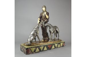 Louis Riche. Impressive bronze and ivory group. Russian lady with Borzois