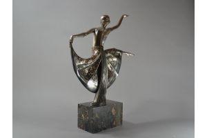 Henri Rischmann. Tall 61cm bronze dancer.