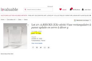 A. RIECKE. Modernist cubist glass vase 1939 #29