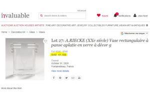 A. RIECKE. Modernist cubist glass vase  mid century 1949 #38