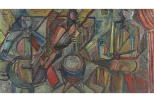 Elisabeth Ronget (1893-1972) cubist circus band. Oil on board.