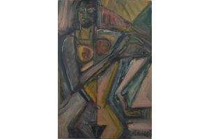 Elisabeth Ronget (1893-1972). Cubist nude lady. Oil on panel.