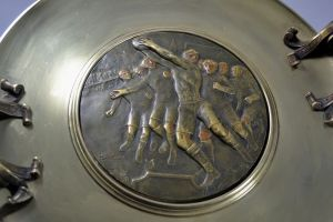 L. Oury. Rare large 1920s RUGBY trophy bronze cup