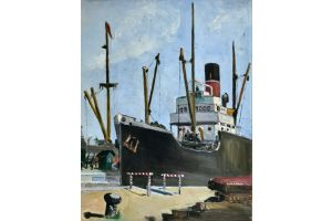 Wim Bosma. (1902-1985) View of a port. Oil on canvas. 1935