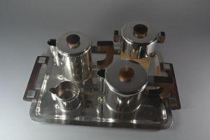 Luc Lanel for Christofle 1936 silver plated tea coffee set art deco