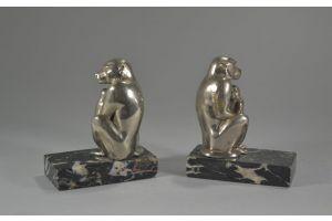Art deco bookends with monkeys and cubs