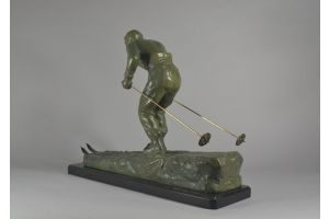 Henri Fugere art deco skier metal sculpture