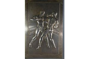 A. Soleau large 1930 bronze plate with boxers
