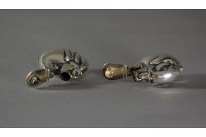 Sterling silver salt and pepper set with elephants