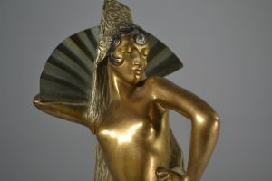 M. Guiraud-Riviere. Bronze figure of a fan spanish dancer