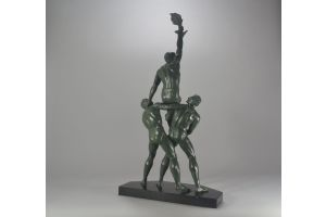 M. Le Verrier editor. P. Le Faguays sculptor rare trophy with three men