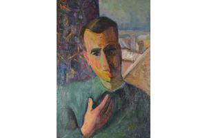 Cubist russian school portrait of a man. Oil on canvas