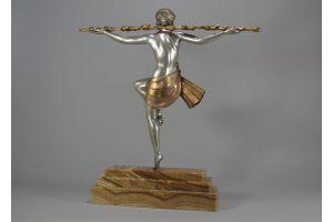 Pierre Le Faguays tall 56cm Thyrsus Dancer bronze figure. Etling