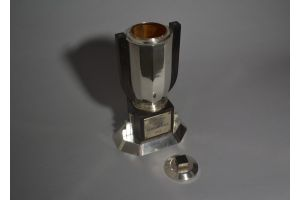 French silver plated and macassar art deco trophy