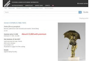 Dh. Chiparus. Child with umbrella gilded bronze figure 1925