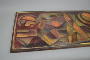 Large Futurist oil painting on thick panel. Monogrammed.