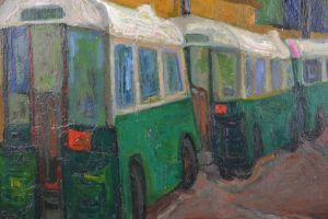 Zuka. American painter. Oil on canvas. Buses in Paris